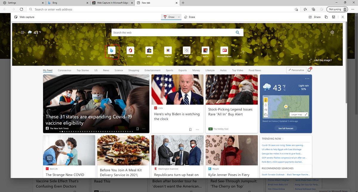 Um screenshot de página inteira em Edge.