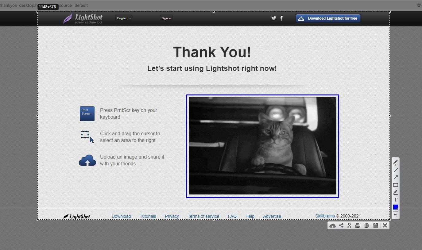 Prendre une capture d'écran avec LightShot.