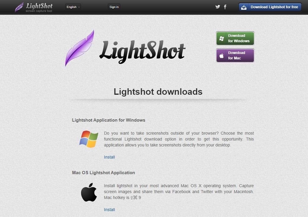 Page de téléchargement de l'outil de capture d'écran LightShot.