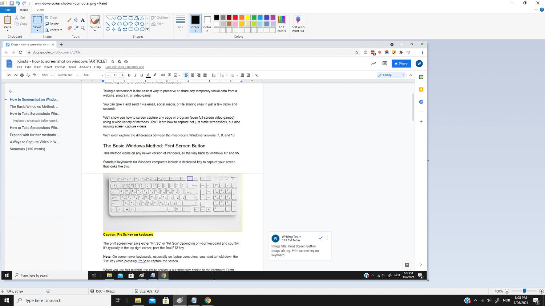 Capture d'écran dans MS Paint.