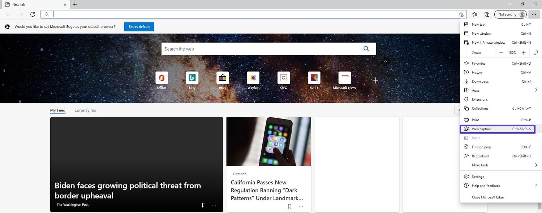 """Menu Microsoft Edge mostrando a localização da opção """"Web capture""""."""