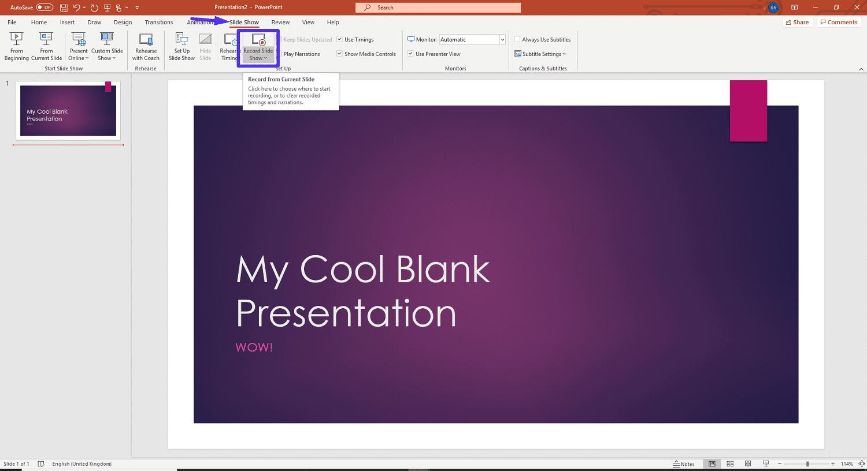 Le menu Diaporama de PowerPoint.