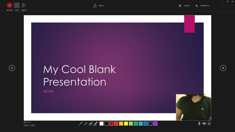 Gravação de uma apresentação em PowerPoint.