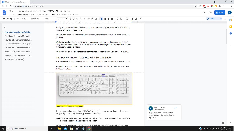 Une capture d'écran basique en plein écran dans Windows.