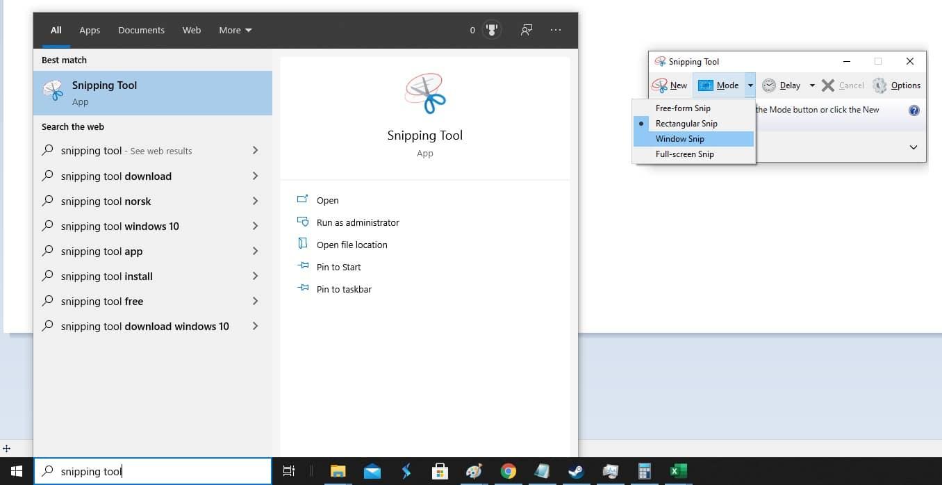 Le Snipping Tool dans le menu Démarrer de Windows.