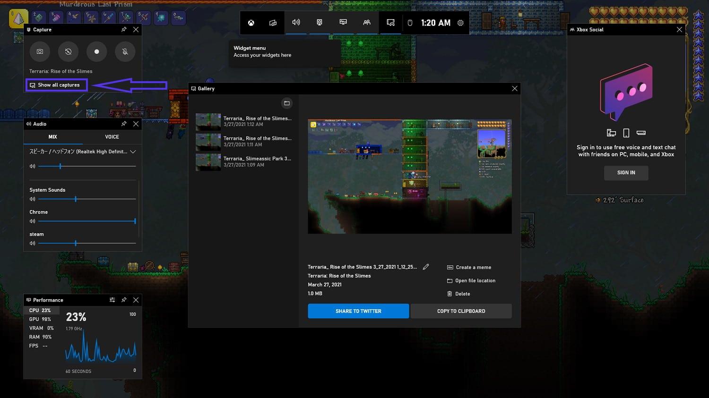 Galeria de imagens do Xbox Game Bar.