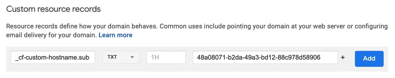 Ajouter un enregistrement de vérification TXT