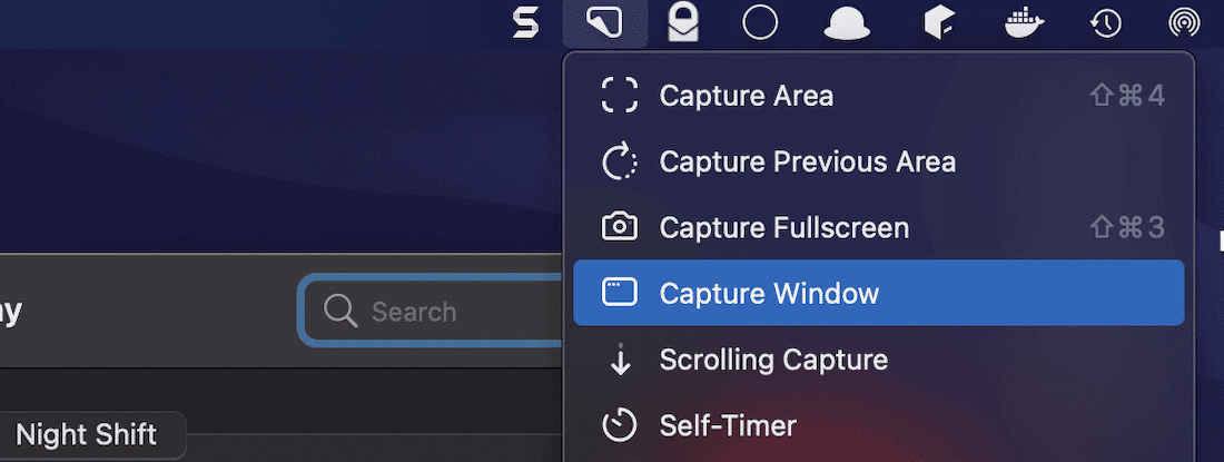 L'outil « Capturer la fenêtre » de CleanShot X.