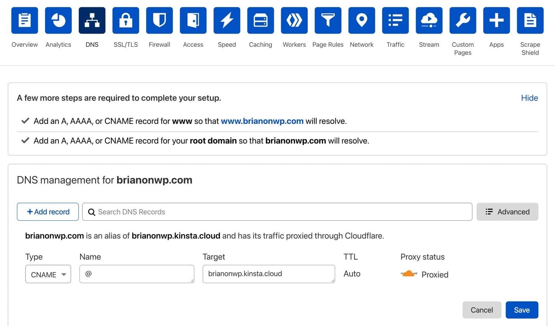 Créer un nouvel enregistrement CNAME chez Cloudflare.