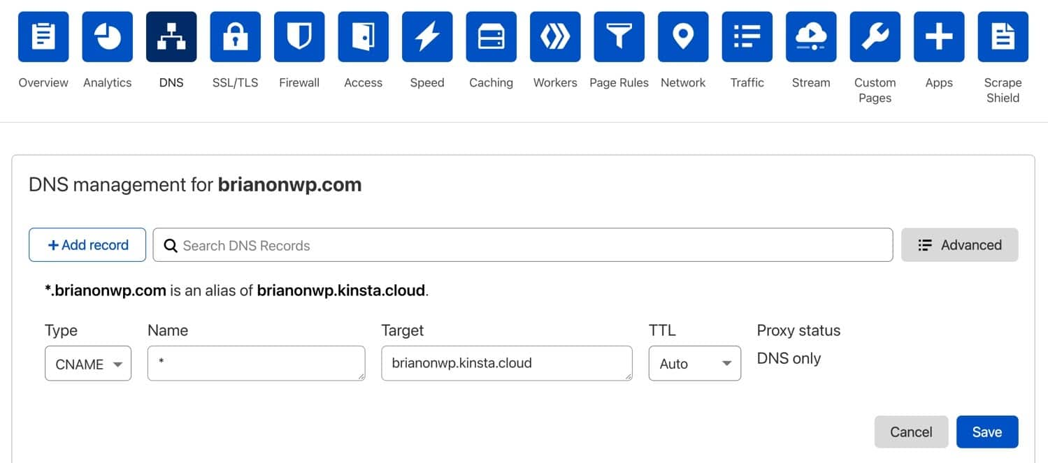 Add a wildcard CNAME for your Cloudflare domain