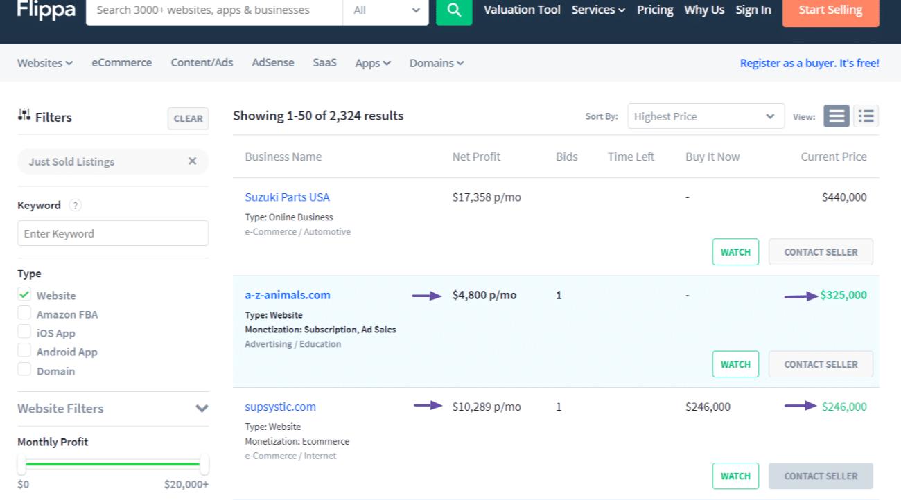 Flippaで紹介されている、最近売買が成立したウェブサイト