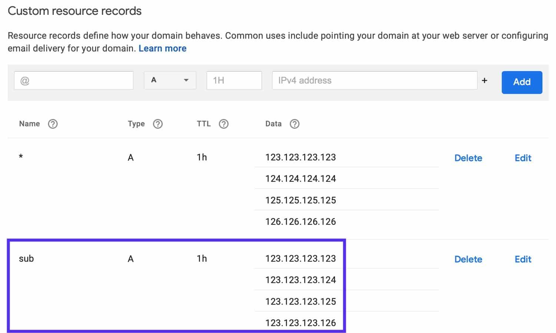 Ajoutez des enregistrements A statiques pour votre sous-domaine