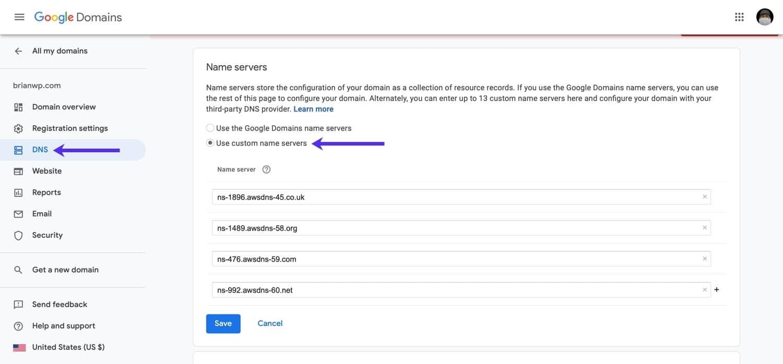 Mettre à jour les serveurs de noms dans Google Domains.