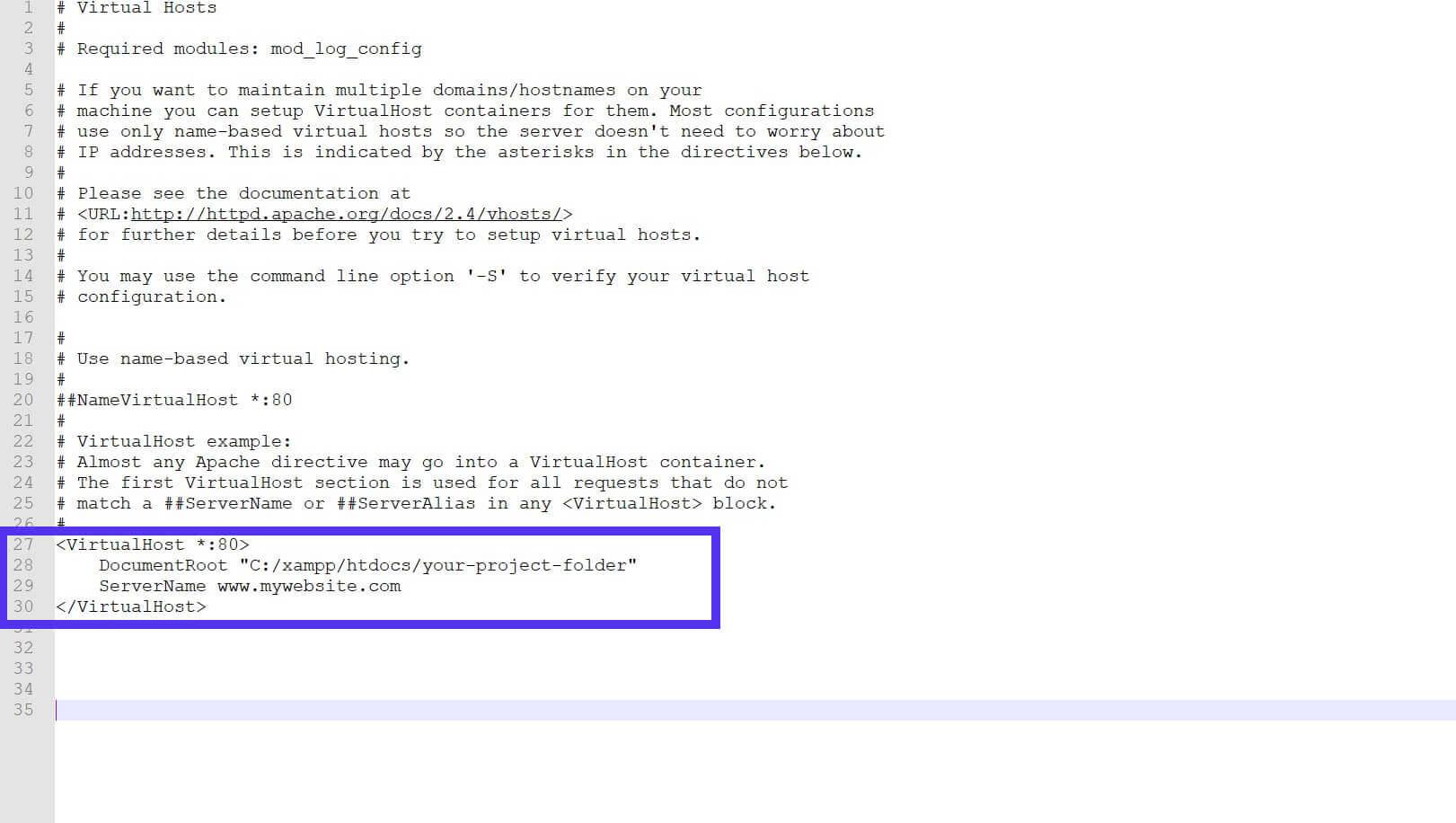 Dieser aktualisierte Text wird XAMPP helfen, die index.php Datei zu finden.
