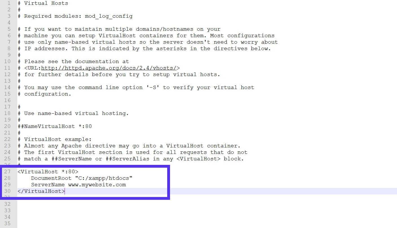 Deine anfängliche httpd-vhosts.conf könnte etwa so aussehen.