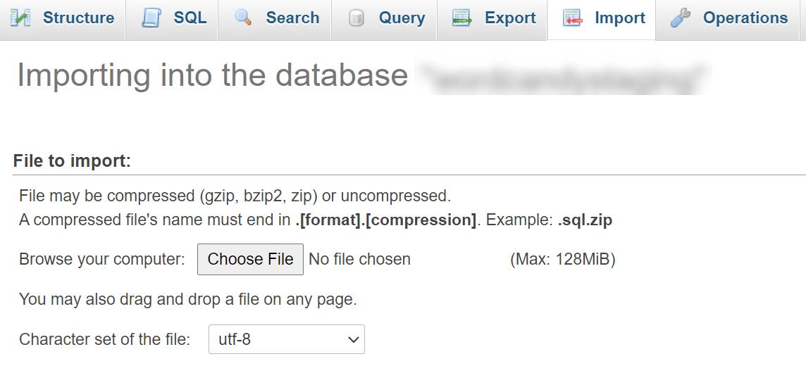 Importing a database file via phpMyAdmin.