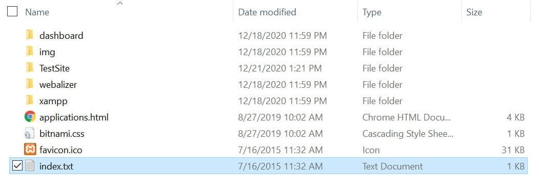 Die umbenannte index.txt Datei im Windows Explorer.