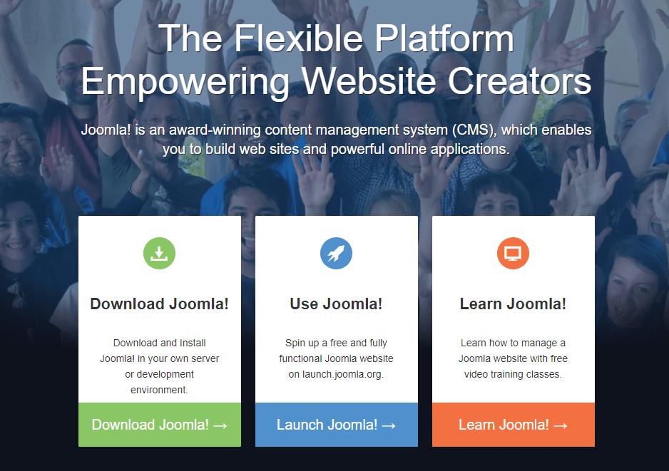 La home page della piattaforma CMS Joomla.