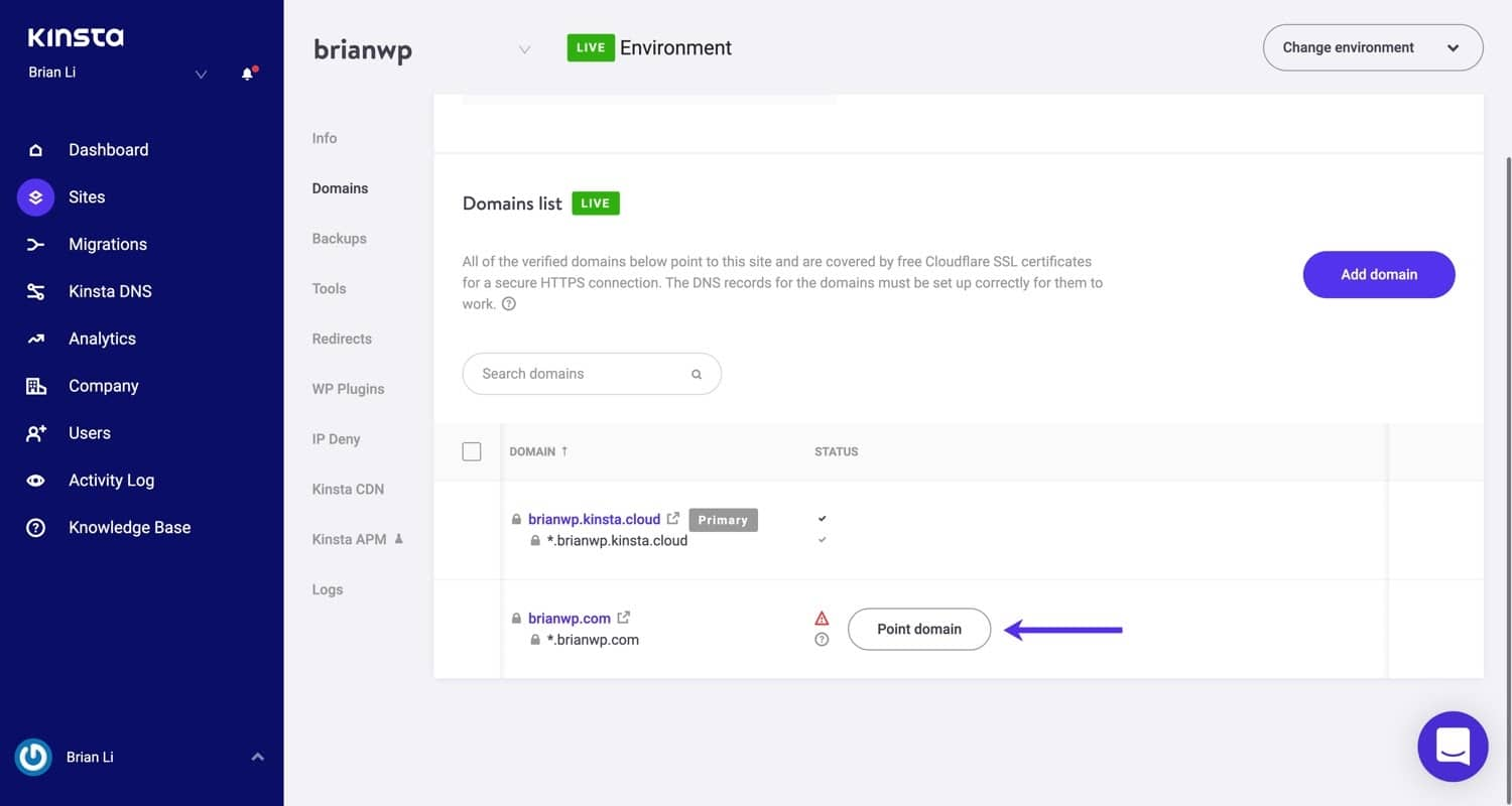 Point your domain to Kinsta
