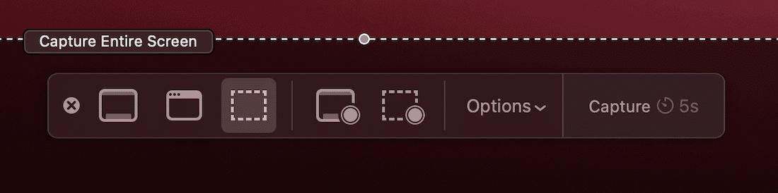 L'option de capture en plein écran dans l'application Screenshot.app.