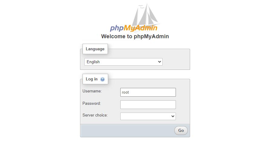 phpMyAdmin's login screen.