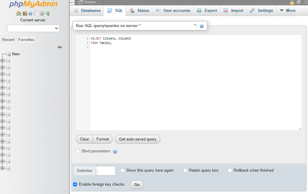 Running a SQL query in phpMyAdmin.