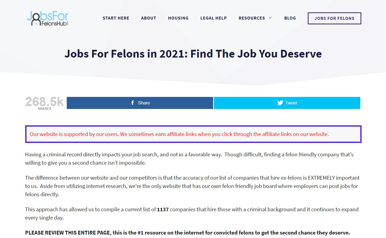 Jobs For Felons Hubに掲載されているアフィリエイトリンクについての情報