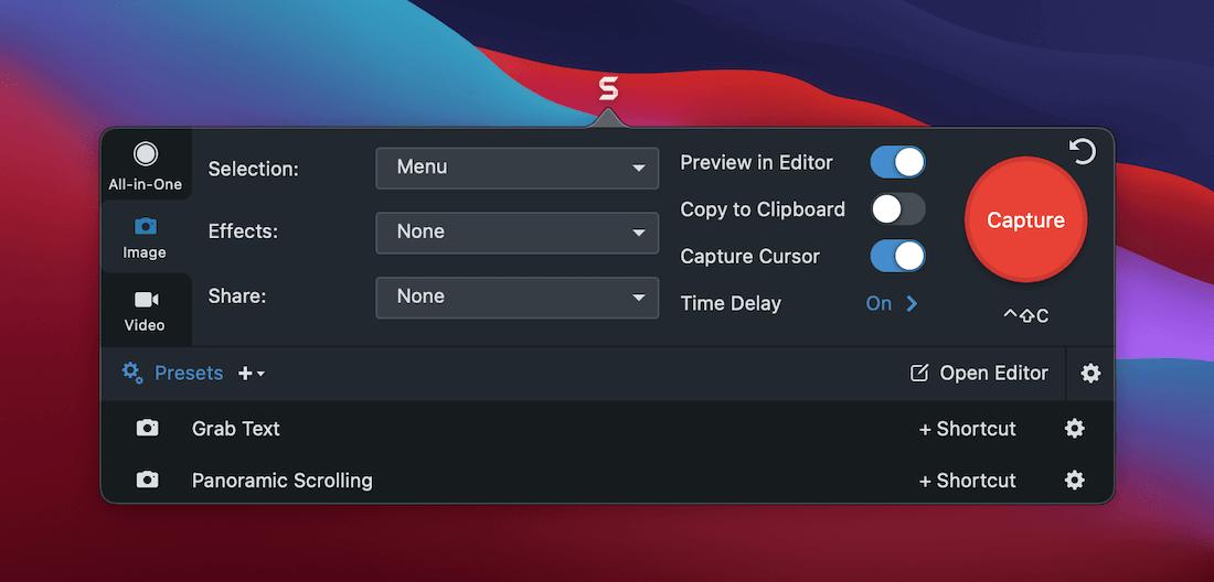 Les options de capture en plein écran de Snagit.