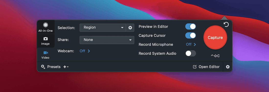 Snagit's video recording options.