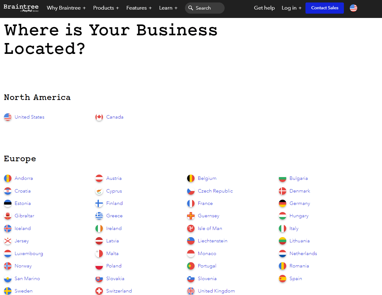 Braintree—Available countries list.