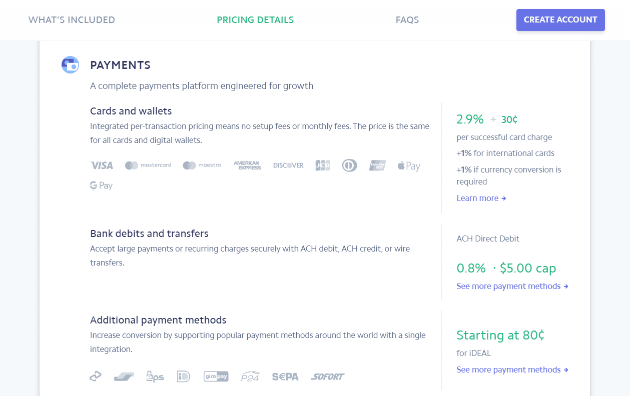 Stripe pricing details page.