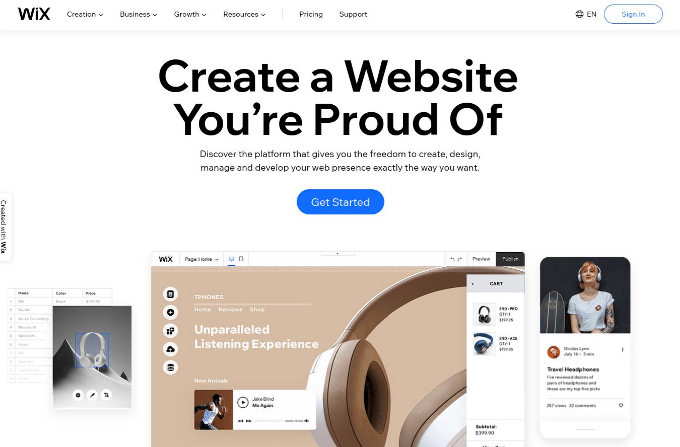 La pagina iniziale di Wix.