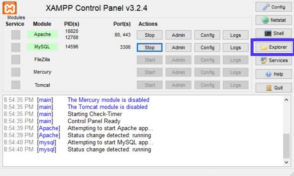 Der Explorer-Button im XAMPP Control Panel öffnet einen Dateibrowser.