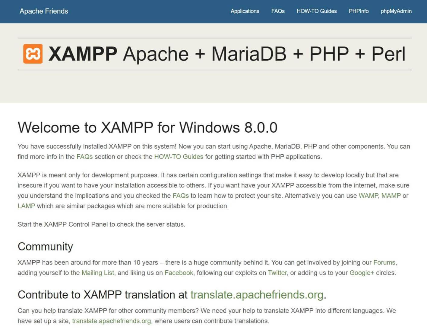 """Die XAMPP """"localhost/dashboard"""" Seite."""