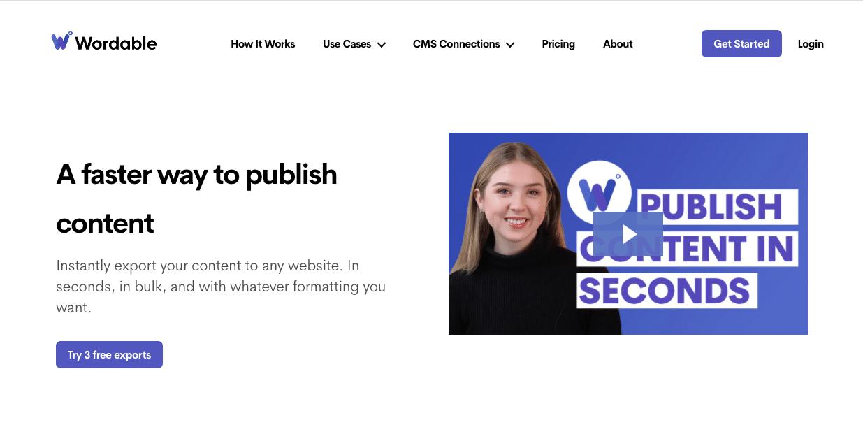 Wordable Homepage.