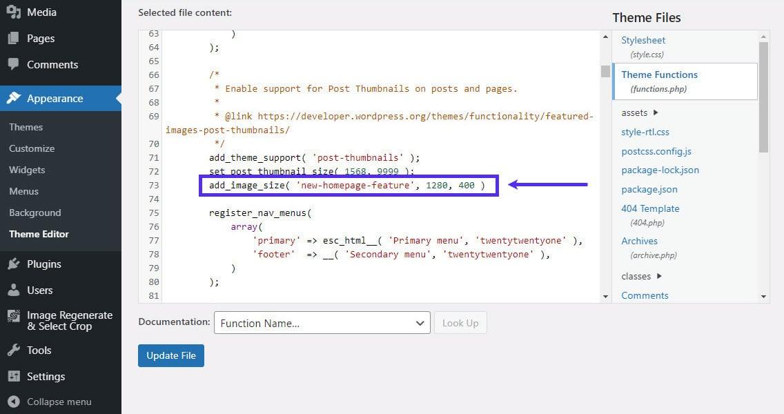 Adicionando dimensões personalizadas de tamanho de imagem às functions.php.