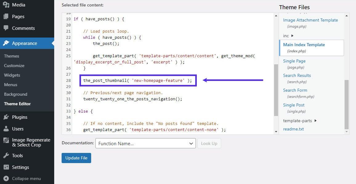 Adicionando o gancho para tamanhos de imagem personalizados ao functions.php.