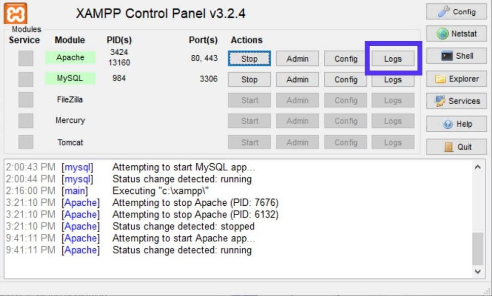 O botão Logs para abrir os logs de erro do Apache.