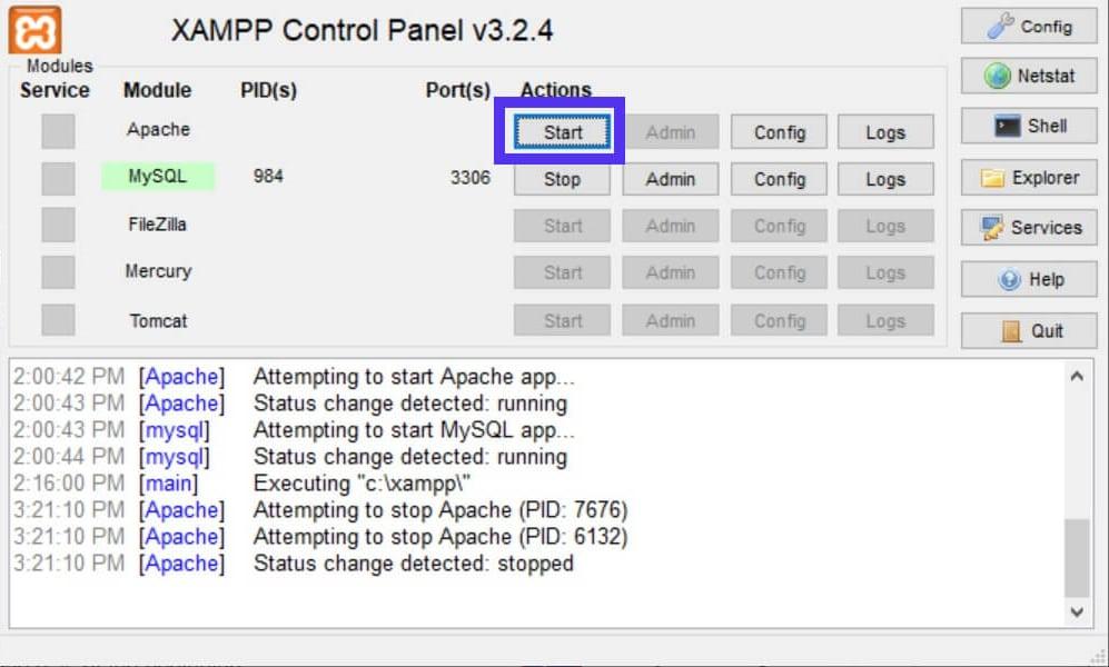 O botão Start do XAMPP para reativar o Apache.