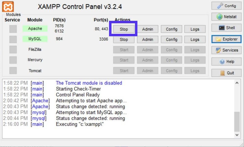 O botão Stop do XAMPP para desativar o Apache.