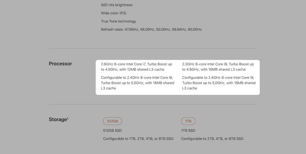Especificaciones del MacBook de Apple, mostrando un caché incorporado.
