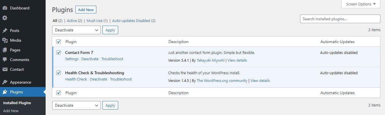 Disattivazione dei plugin installati in WordPress.