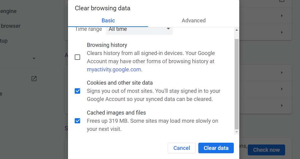 Clearing the cache and cookies in Chrome.