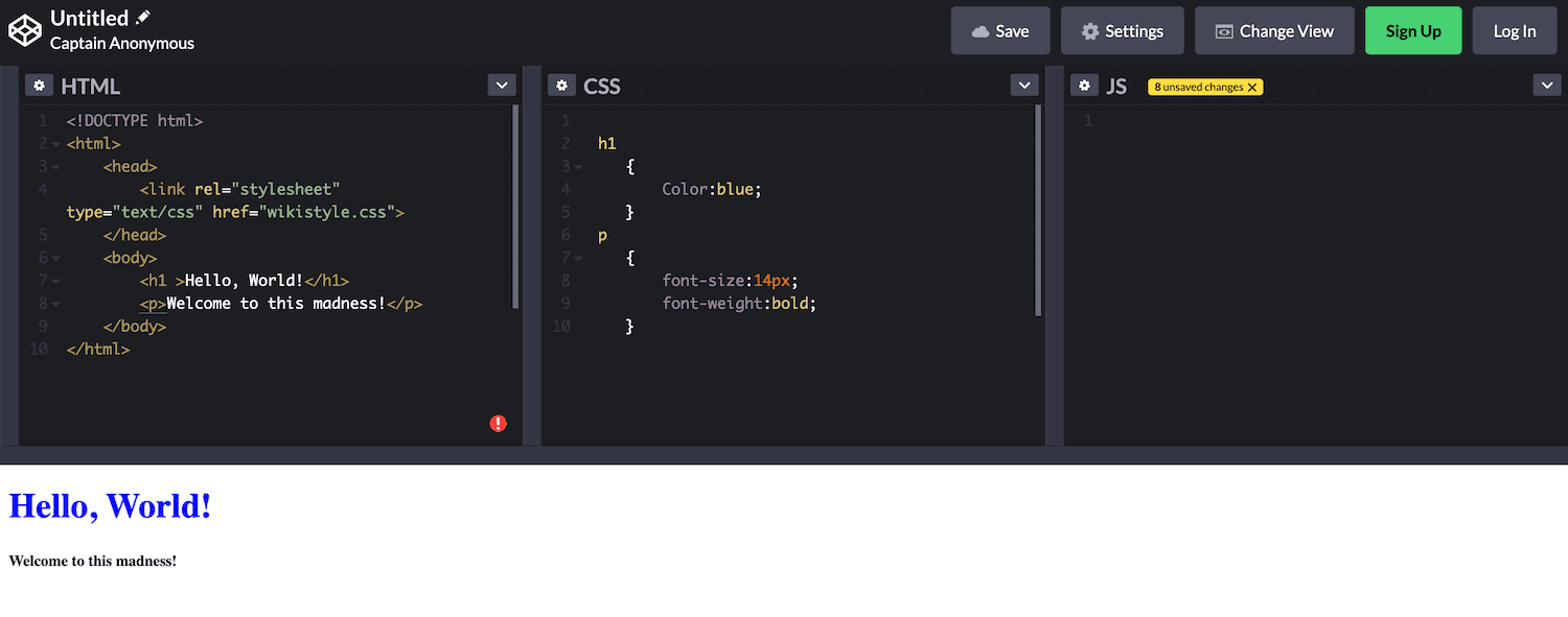 The CodePen console.