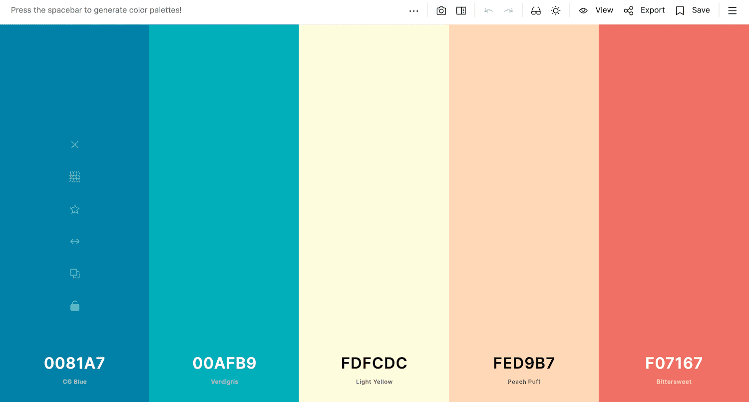 The Coolors color picker.