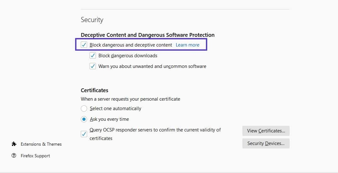 """The """"Security"""" section of Firefox settings."""