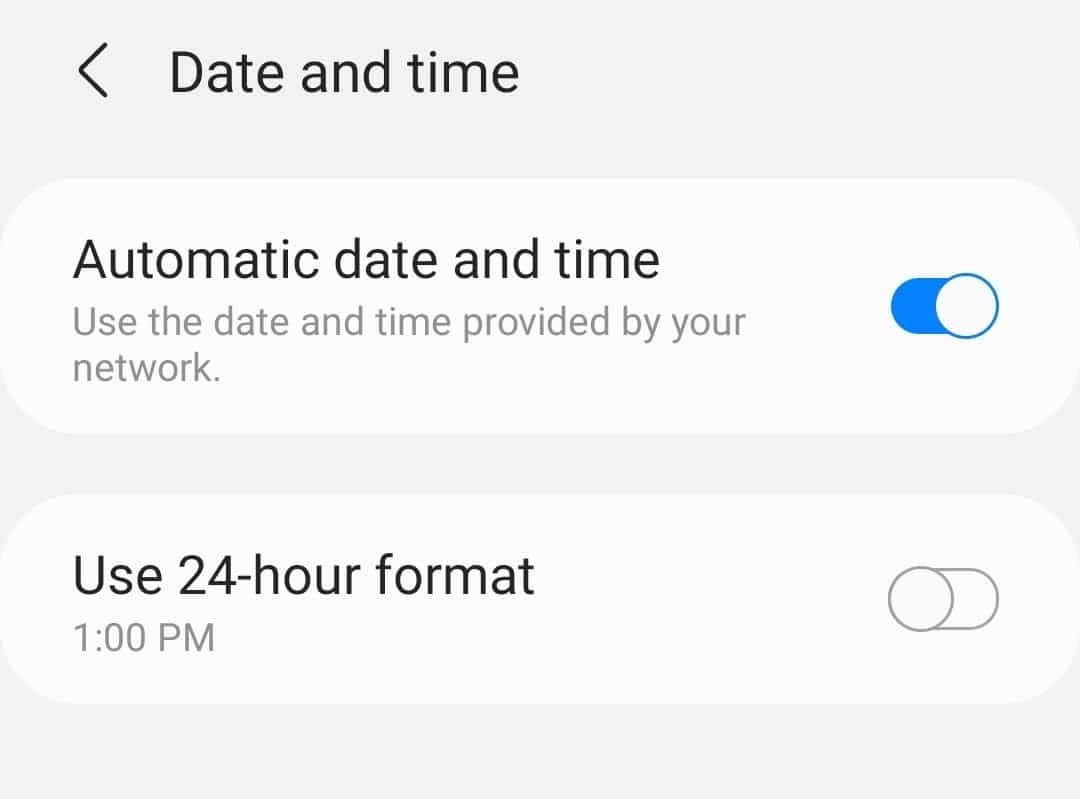 Updating the date and time settings in Android.