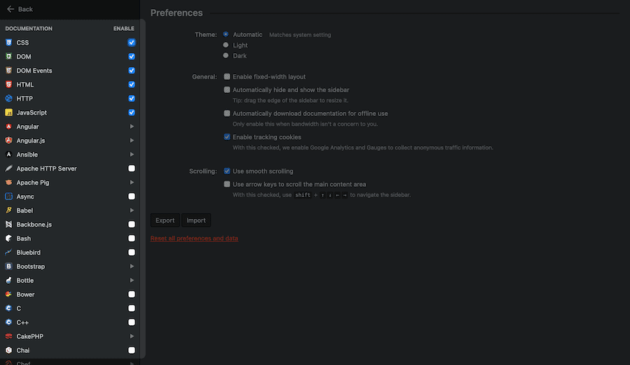 The DevDocs Preferences screen.