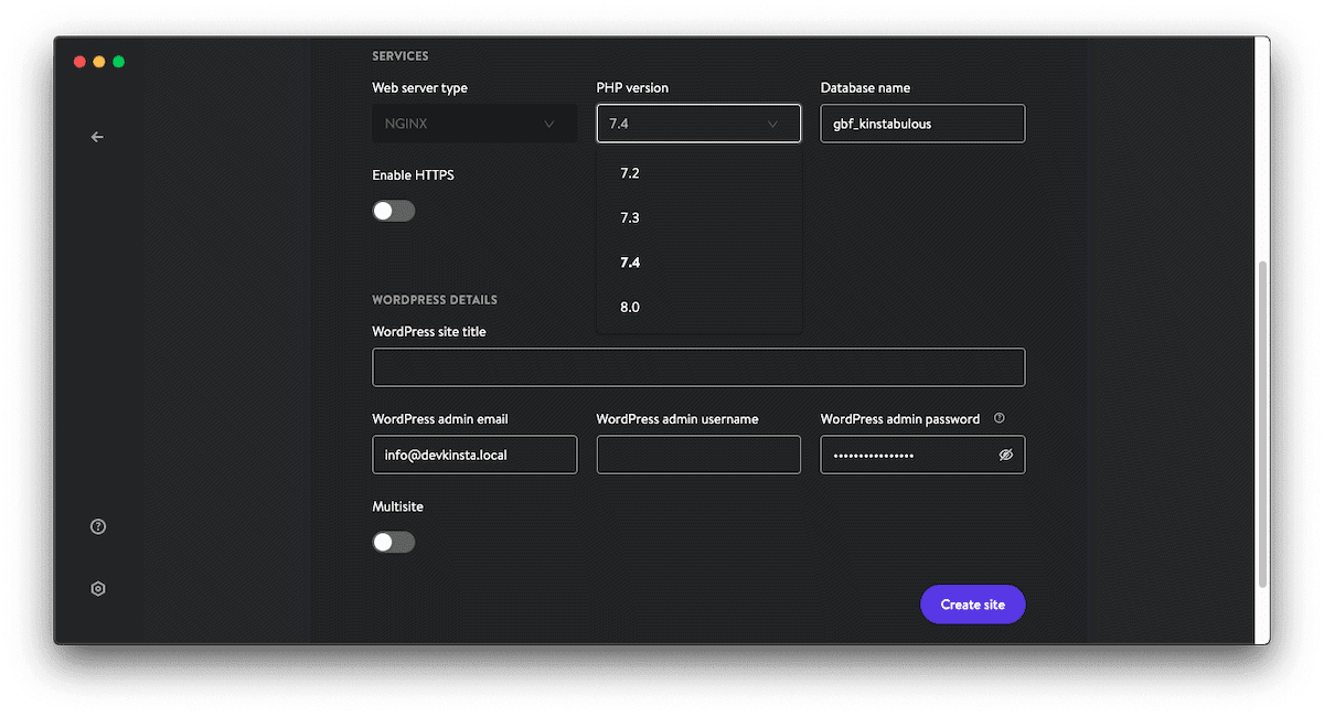 DevKinsta's setup options.
