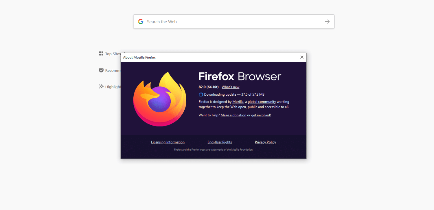 The Firefox browser window notifying user that updates are downloading.